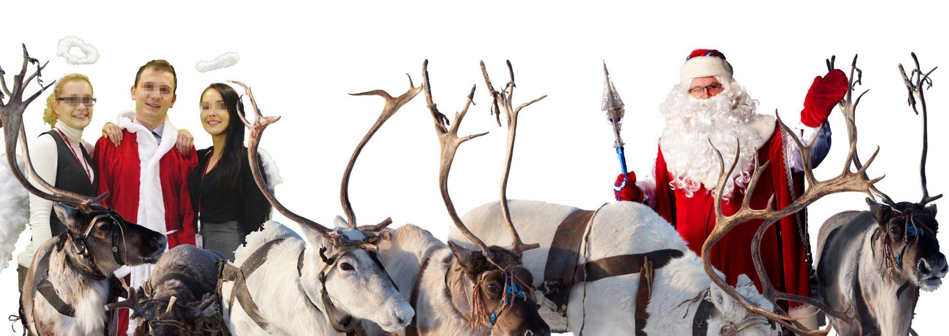 Weihnachtsfeier Fotografie mit Bluescreen